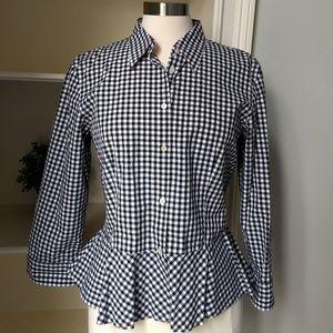 Ralph Lauren Shirt 12 Black White Checked Fitted